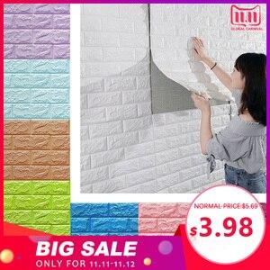 Image 1 - Pegatinas de pared 3D imitación de ladrillo para decoración de dormitorio papel tapiz autoadhesivo impermeable para sala de estar, cocina, TV, decoración de fondo