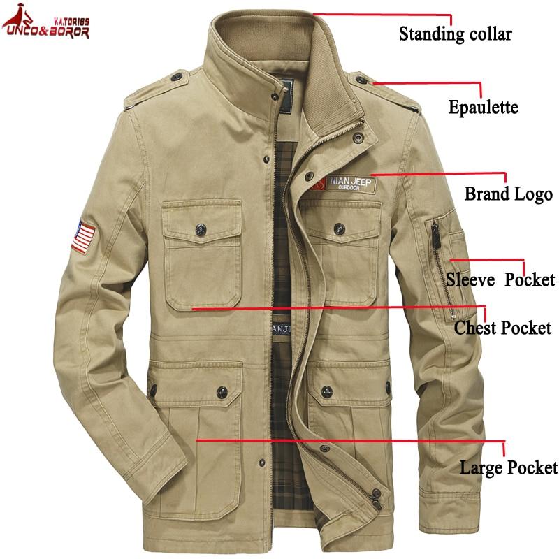 Autumn Winter Jacket Men 100% Cotton Windbreaker Military Jackets Outwear Multi-pocket Flight Cargo Jacket Male Business Coats