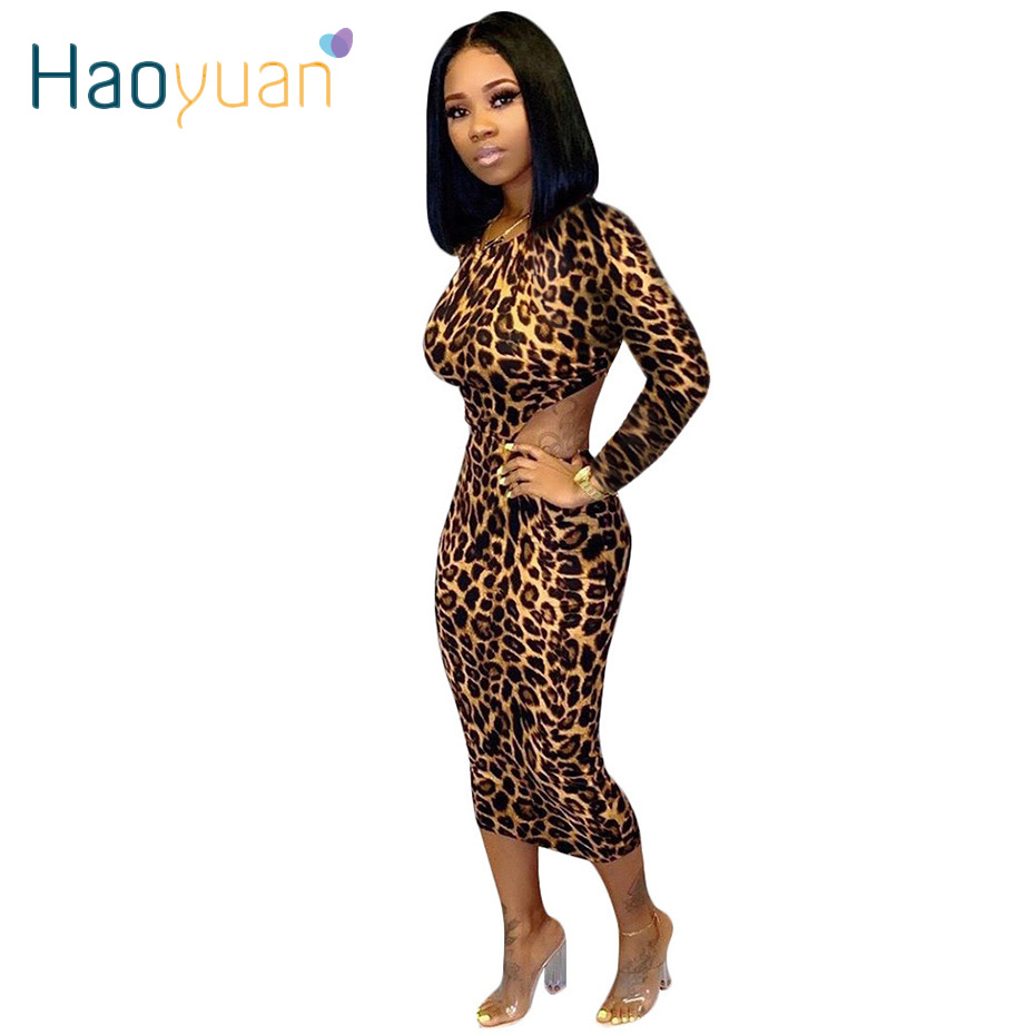 HAOYUAN Sexy Leopard Print Midi Dress Bodycon Backless Women Festival Clothing Vestidos Long Sleeve Bandage Dress Ladies Dresses