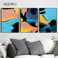 Simple Nordic Canvas Painting Wall Picture Color Abstract Printing Posters Pictures for Living Room DJ520