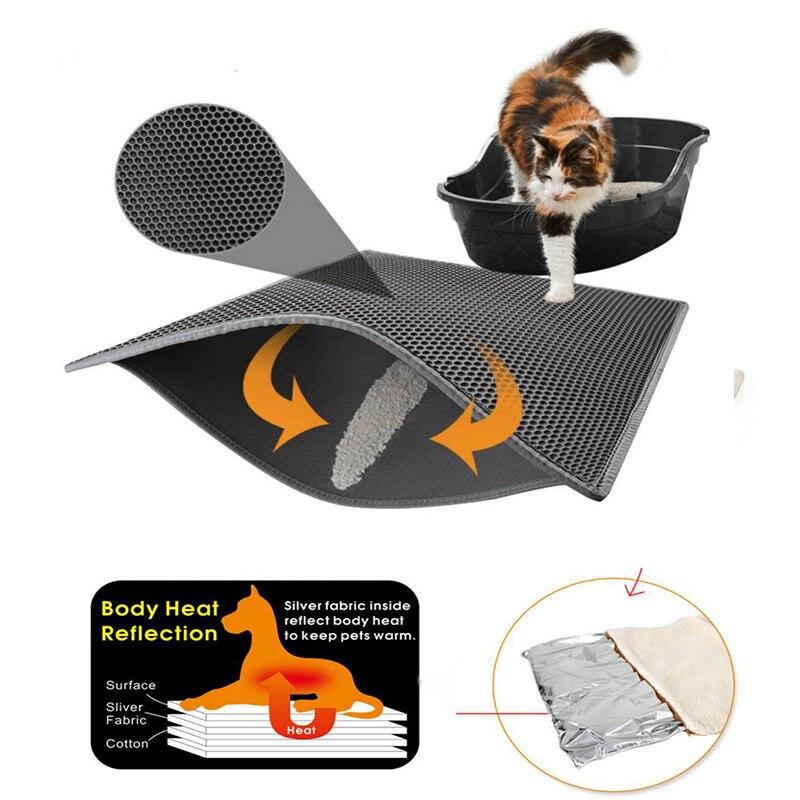 Водонепроницаемый коврик для кошачьих туалетов, складной двухслойный коврик для кошек EVA, нескользящий нижний коврик для домашних питомцев, грелки для домашних животных|Кровати и подстилки для кошек|   | АлиЭкспресс