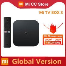 Versão global xiaomi mi caixa de tv s 4k ultra hd android tv 9.0 hdr 2gb 8gb wifi google elenco netflix inteligente mi caixa s media player