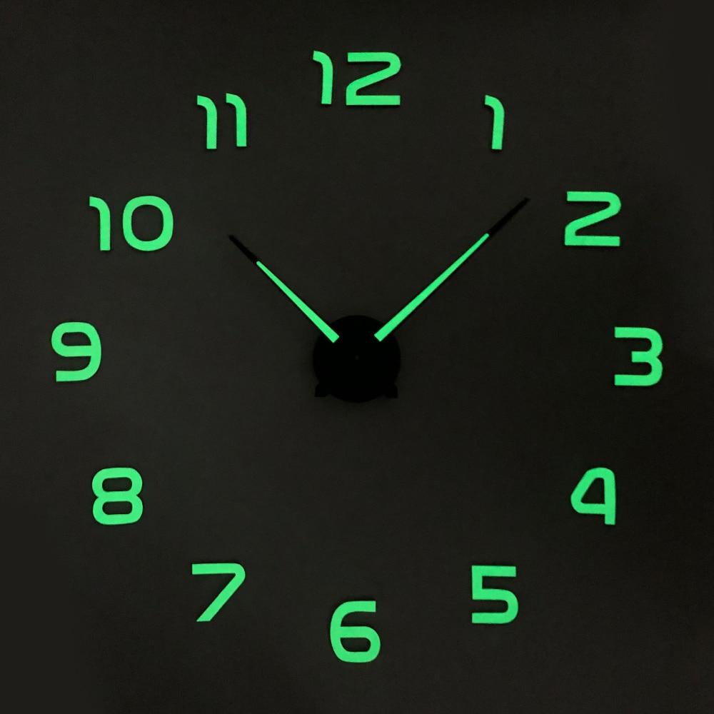 Luminous Large DIY 3D Wall Clock Modern Design Acrylic Mirror Sticker Wall Watch Clocks Home Decor Nightlight Clock WithBackligt