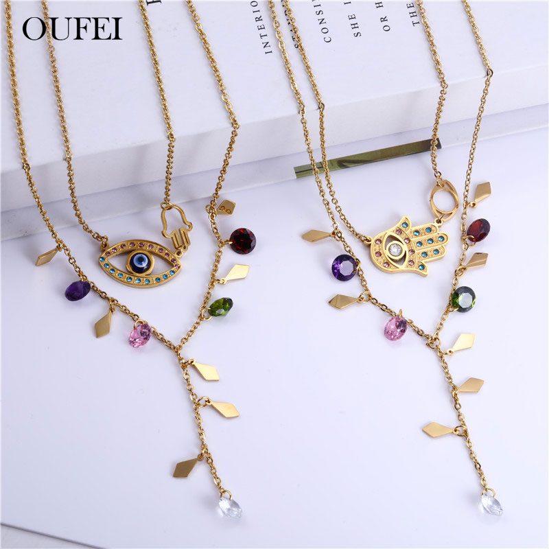 OUFEI Stainless Steel Jewelry Sets Evil Eyes Necklace Earrings Set Fashion Jewelry Woman Accessories Free Shipping
