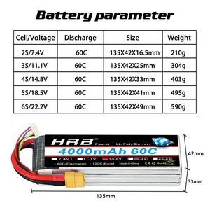 Image 2 - HRB RC Lipo Battery 3S 4S 5S 6S 4000mah 14.8v 22.2v Lipo 60C XT60 plug  for rc car boat drone trex 500 550 600E Align helicopter