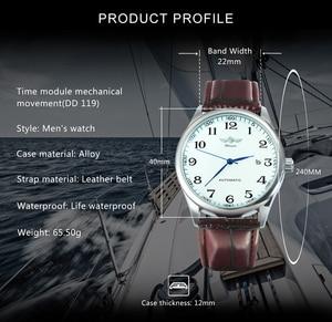 Image 2 - ساعة يد آلية للأعمال الموضة للرجال بحزام جلدي ساعات يد ميكانيكية للرجال ساعة بتقويم وتاريخ من montre homme WINNER