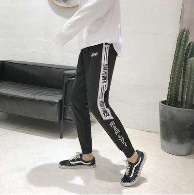 Casual Pants Men's Korean-style Trend 2018 Spring New Style Students Closing Skinny Pants Loose-Fit Sports Ninth Pants Versatile