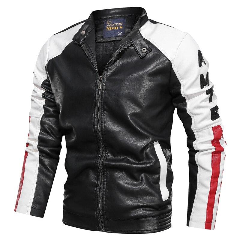2019 nouveau hiver hommes Faux cuir veste manteau hommes rue moto mode couture veste doublure Plus velours veste