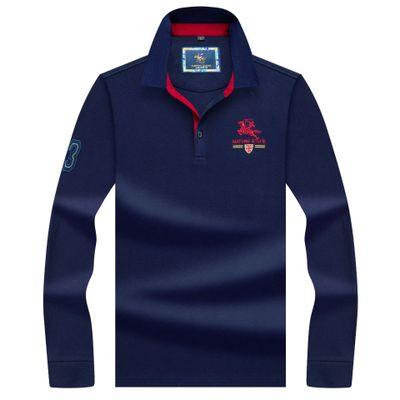 High Quality Tops&Tees Solid color Men   Polo   3D Embroidery Business Casual   Polo   Shirts winter men's Long sleeve   polo   shirt brand