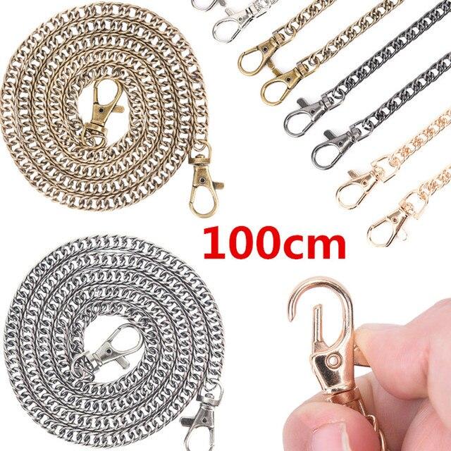 100cm / 120cm Handbag Metal Chains DIY Purse Chain With Buckles Shoulder Bags Straps Handbag Handles Bag Parts & Accessories