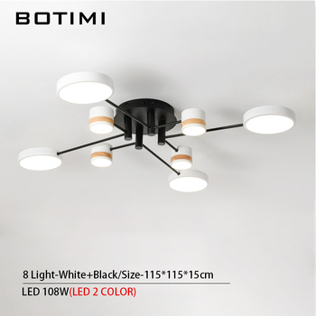 BOTIMI Home Decor LED Ceiling Lights For Living Room Round Metal Ceiling Lamps Surface Mounted Dining Lustres Bedroom luminaires 8