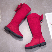 Sweet Knee High Tall Boots Kids Girls Children Boots for Big Girls Lovely Bowknot Black Single Shoes size 26-36 SS030