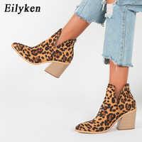 EilyKen Stiefel Frauen Frühen Winter Ankle Leopard Mid Ferse Schuhe Weibliche Slip-On Casual Schwarz Platz Ferse Booties zapatos de mujer