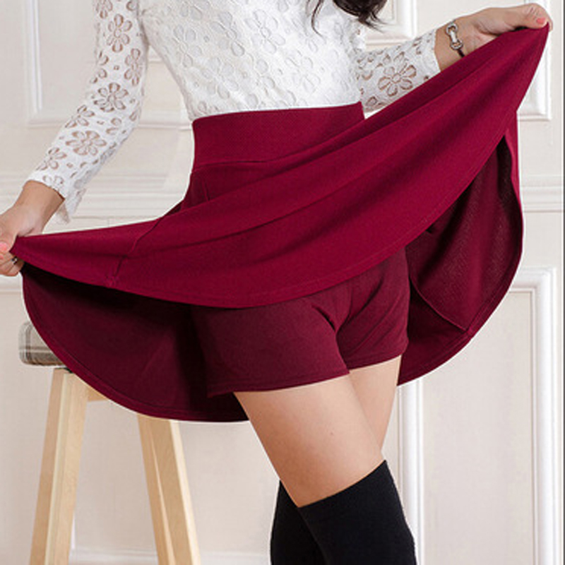 Women's half-length shorts skirt women's A-line skirt anti-going high waist safety mini skirt solid color skirt