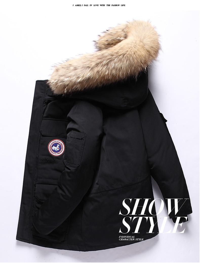 Зимний мужской пуховик с перьями, короткий канадский пуховик, уличная рабочая одежда, Толстая Теплая мужская зимняя куртка
