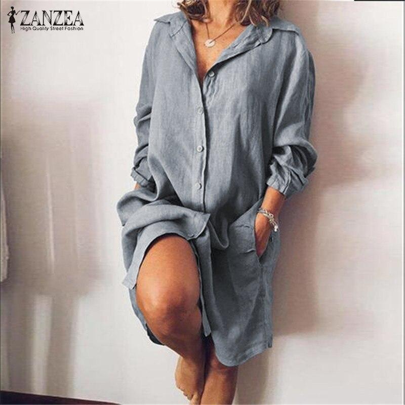 2020 ZANZEA damska bluzka koszula na co dzień Vestidos modny guzik koszule z długim rękawem kobieta Lapel praca Blusa Plus rozmiar tunika S-5XL