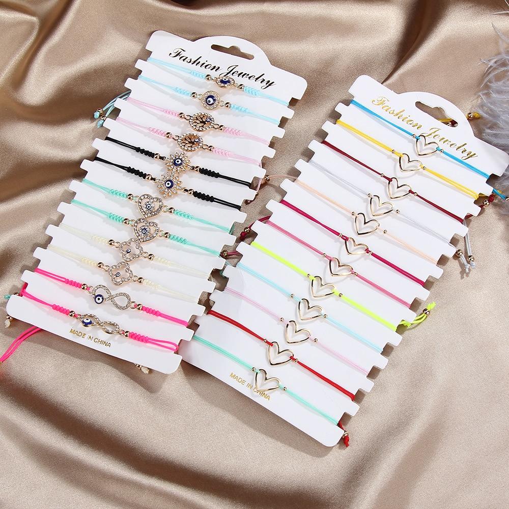 12 шт./компл. простые плетеные браслеты с полым сердцем для женщин и девушек с кристаллами сглаза тонкие веревочные браслеты ручной работы юв...