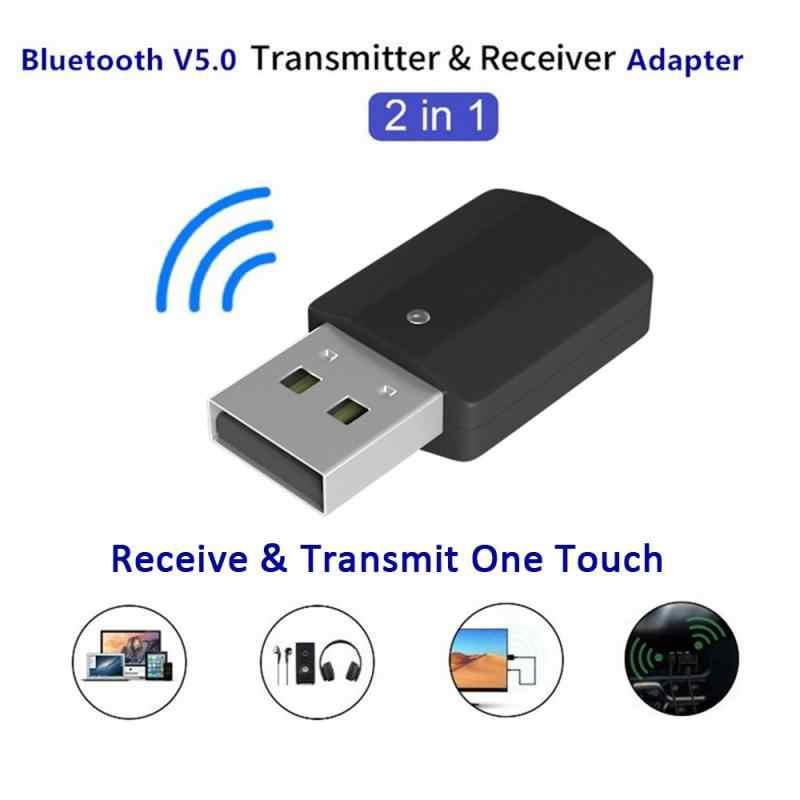 2 w 1 USB Bluetooth 5.0 nadajnik-odbiornik Mini 3.5mm stereofoniczny bezprzewodowy adapter Bluetooth do telewizora PC zestaw samochodowy adapter bezprzewodowy