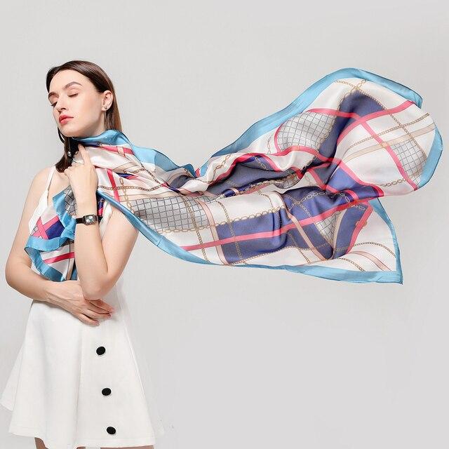 Luxury brand summer silk scarves shawls lady wraps soft 4