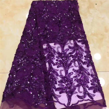 Emerald Purple Lace Fabric, Africa Lace Fabric High Quality Nigerian Lace, Sequin Lace Wedding Bride Mr3055b