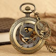 The Hunger Games Mockingjay Bronze Alloy Hollow Quartz Pocket Watch Anime and Movie Theme Retro Pocket Watch