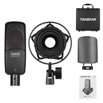 Professional Microphone TAKSTAR TAK45 Recording  Condenser Mic Uni-directional 34mm Large Diaphragm with Metal Windscreen Shock - discount item  20% OFF Musical Instruments
