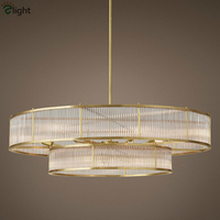 Loft RH Style Metal Lamp Body Round Circle Led Pendant Lamp Lustre Glass Tubes Pendant Light Living /Dining Room Rod Hang Lamp