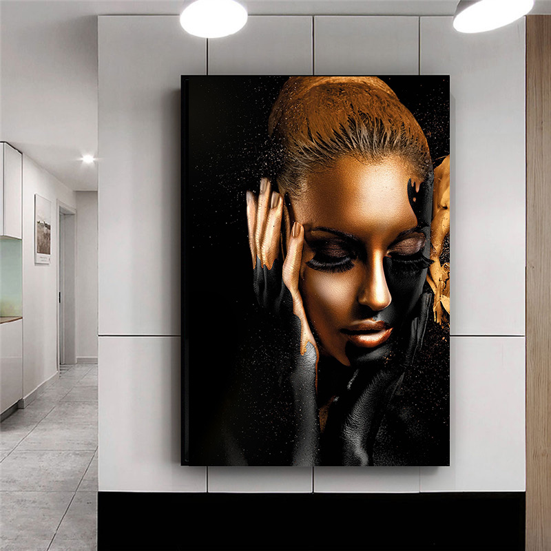 Black Gold African Woman Oil Paintings on Canvas Nude Wall Art Posters and Prints Scandinavian Cuadros for Living Room Decor(China)