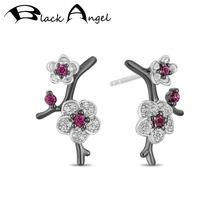 Женские серьги гвоздики из серебра 925 пробы с рубином и цветком