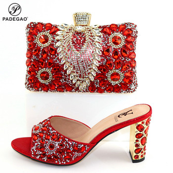 Red Color New Arrivals Nigerian Women Shoes and Bag to Match High Quality Mid Heels with Crystal for Wedding Party