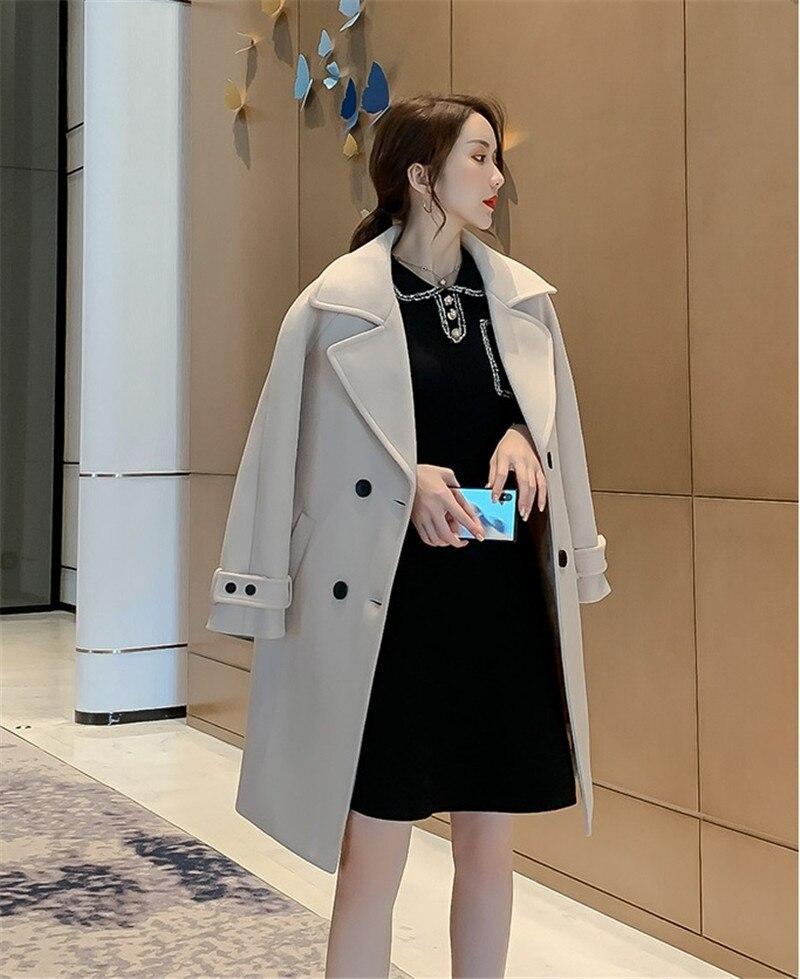 Nova Moda Longo Fino Casaco de Lã