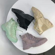 2020 Модные ботильоны женская обувь с высоким берцем на шнуровке