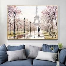 Parijs Eiffeltoren Landschap Hd Romantische Stad Liefhebbers Print Abstract Olieverfschilderij Wall Art Woonkamer Sofa Thuis decor