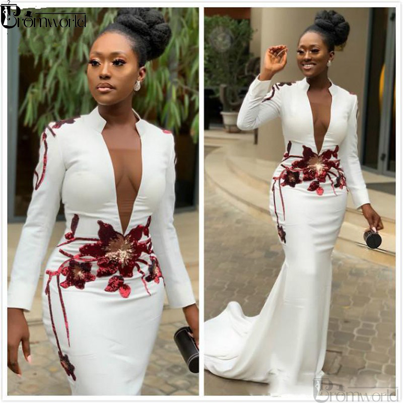 White Mermaid Sexy African Evening Dresses 2020 Long Sleeves Embroidery Appliques Prom Dress V-neck Formal Gowns Abendkleider