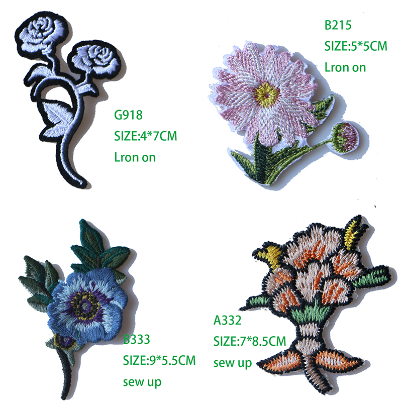 1 PCS Rose Embroidered Iron on Patches for Clothing DIY Stripes Clothes Patchwor