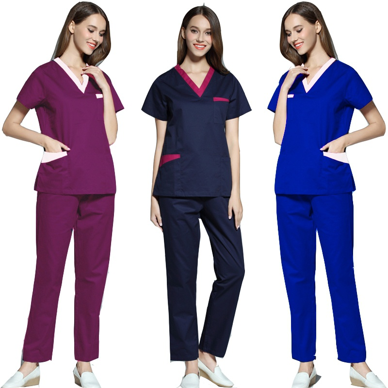 [SET] Women's Fashion Scrubs Set V Neck Contrasting Color Design Top + Pants