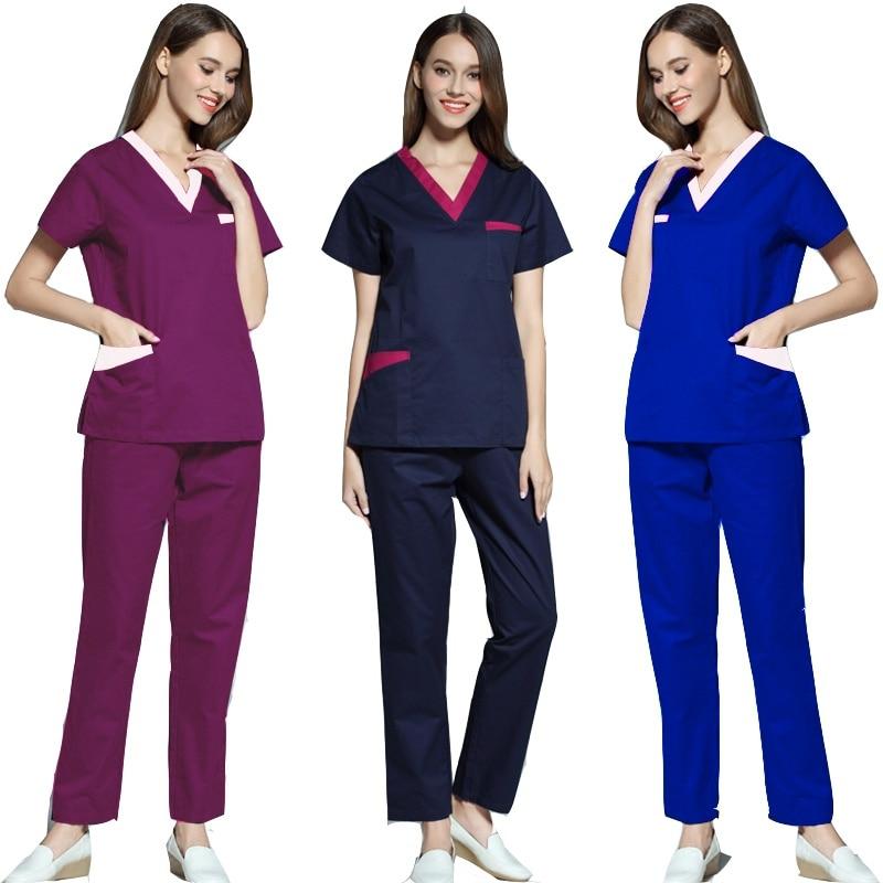 [SET] Women's Fashion Scrubs Set V Neck Contrasting Color Design Top + Pants