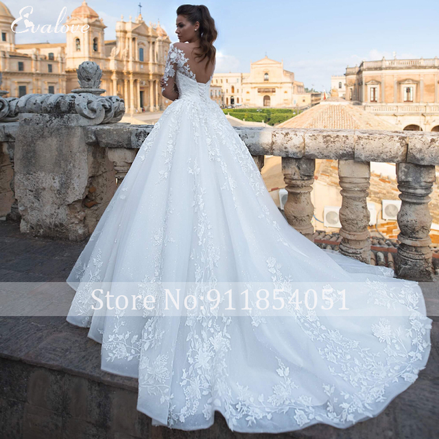 EVALOVE Luxury Scoop Neck Lace Up Beading A-Line Wedding Dress Gorgeous Long Sleeve Appliques Sparkly Tulle Vintage Bridal Gown 2
