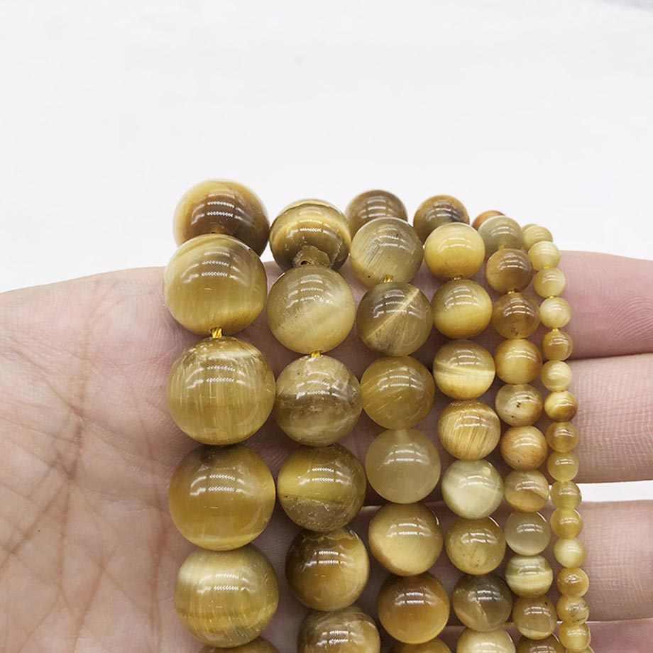 Натуральный камень глубокий золотой свободные бусины Круглый тигровый глаз вышитый бисером для женщин ювелирных изделий Браслеты Ожерелья J132