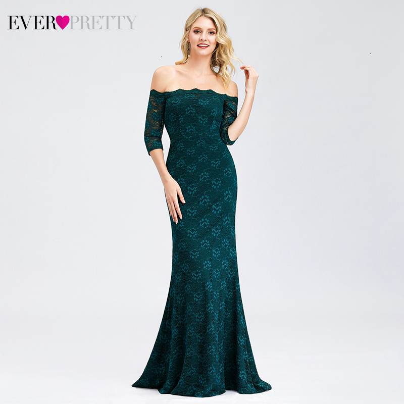 Elegant Lace Prom Dresses Ever Pretty Mermaid Off The Shoulder Sweep Train Half Sleeve Floral Evening Party Gowns Gala Jurken
