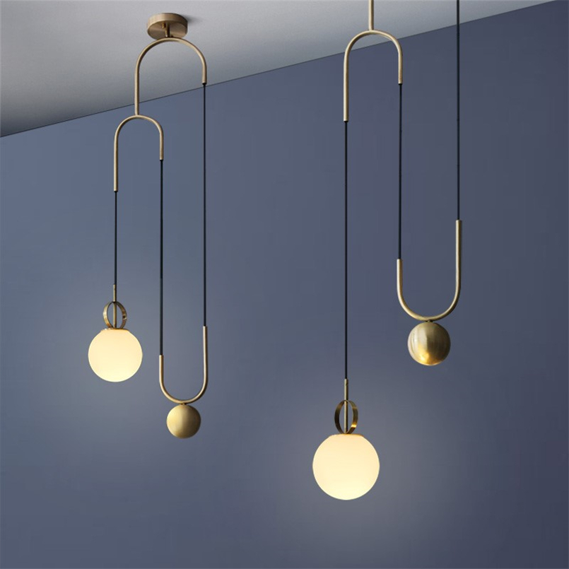 Nordic Industrial Glass Orb Pendant Light Modern Designer Lift Pendant Lamp LED Personality Bar Restaurant Decor Hanging Lamp
