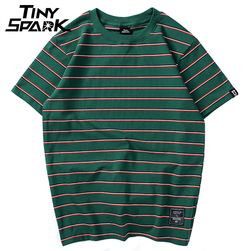Harajuku Stripe T Shirt 2018 Men Casual T-Shirt Short Sleeve Summer Hip Hop Tshirt Streetwear Casual Tops Tees Black White Green