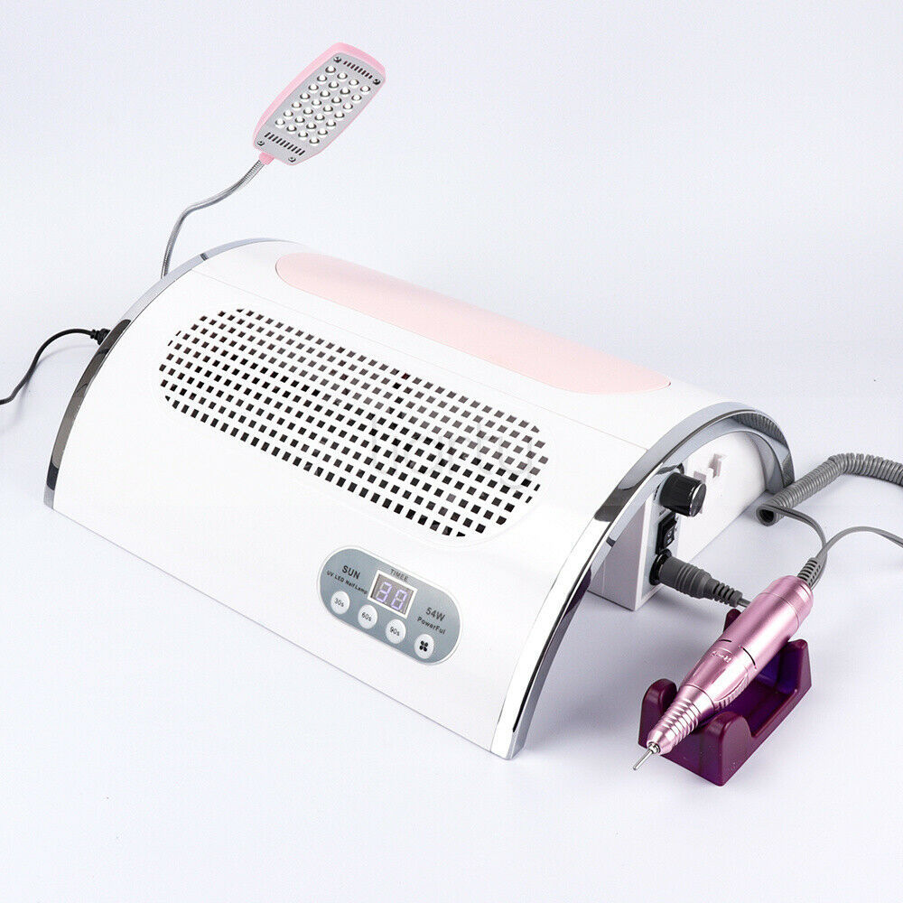 2019 New 5 In 1 Electric Nail Drill Machine With 30000RPM Handpiece Nail Dust Vacuum Cleaner  72W LED UV Lamp Nail Art Equipment
