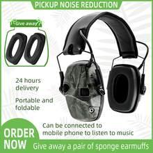 Orelha eletrônica muff fone de ouvido tático anti-ruído som amplificação tiro caça proteção auditiva protetores earmuffs