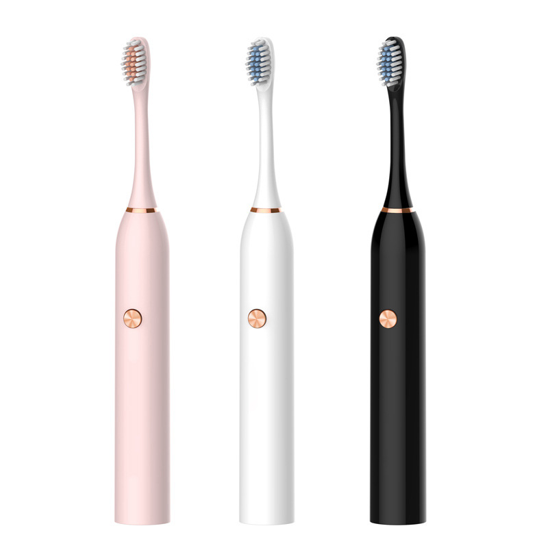 Three Color Electric Toothbrush Sonic Vibration Adult Household Soft Fur USB Charging Waterproof Electric Toothbrush Couple Gift
