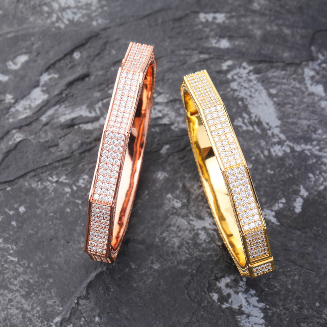 TOPGRILLZ Luxury Iced Out Bling Cubic Zircon Hip Hop Rose Gold Silver Polygon Bracelet Micro Pave AAA CZ Stone Hip Hop Jewelry