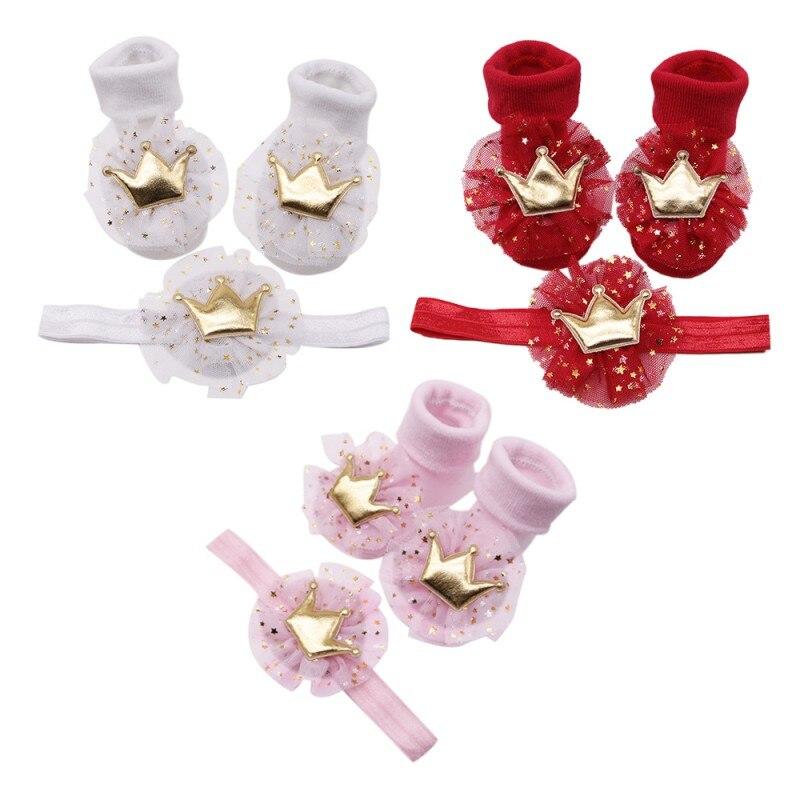 Newborn Soft Floor Socks New S 2018 Flower Highlight Headband Baby Children 2pcs Stretch HairBand+Non-slip Crown Cotton S