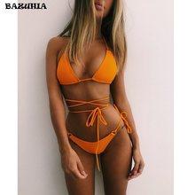 BAZUHIA-Bikinis de cintura media para mujer, con traje de baño Sexy Push-Up, Bikini brasileño, ropa de playa 2021
