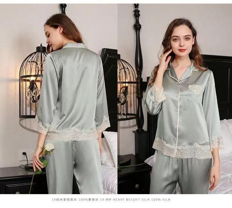 2021 venda quente 19mm100% seda amoreira longo-sleeved pijamas serviço de casa terno
