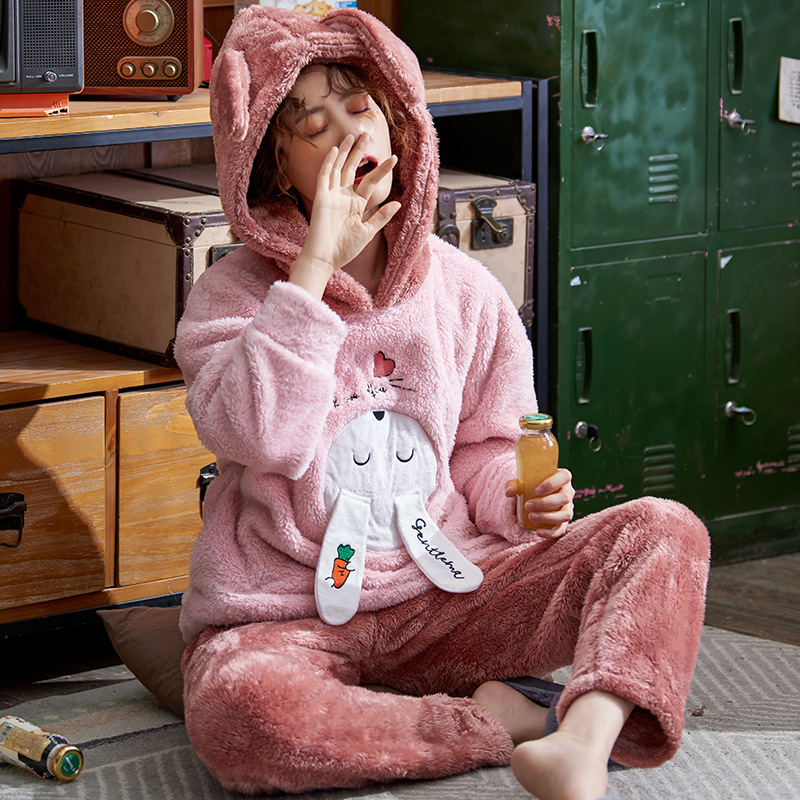 Plus Large Size M - 5XL Warm Pajamas Set Girl Women Cartoon Flannel Thickened Coral Velvet Long Sleeve Pink Rabbit Home Clothes 27